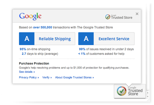 Google Free Trusted Stores Seal to all Merchants in the U.S